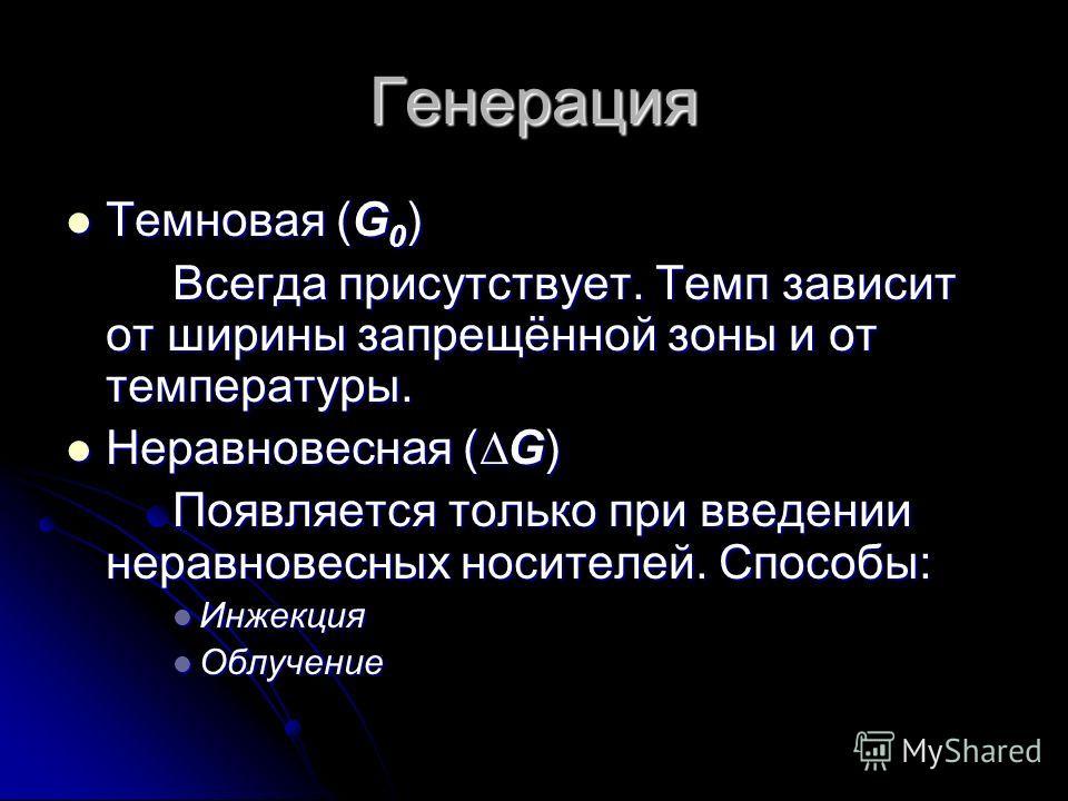 Генерация Темновая (G 0 ) Темновая (G 0 ) Всегда присутствует. Темп зависит от ширины запрещённой зоны и от температуры. Неравновесная (G) Неравновесная (G) Появляется только при введении неравновесных носителей. Способы: Инжекция Инжекция Облучение