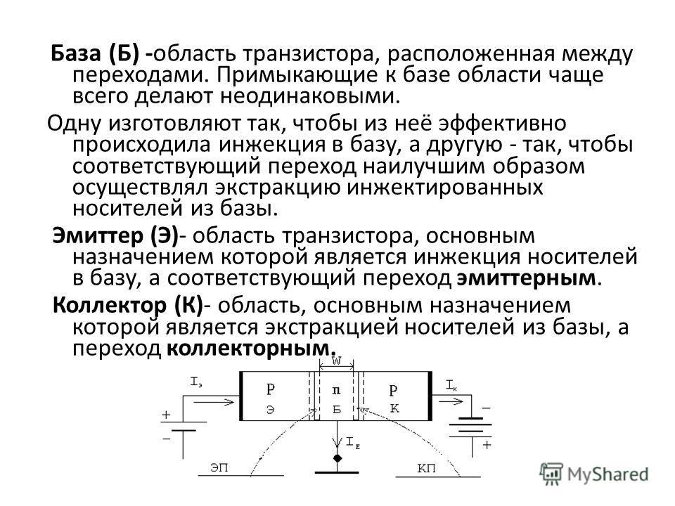 База (Б) -о бласть транзистора, расположенная между переходами. Примыкающие к базе области чаще всего делают неодинаковыми. Одну изготовляют так, чтобы из неё эффективно происходила инжекция в базу, а другую - так, чтобы соответствующий переход наилу