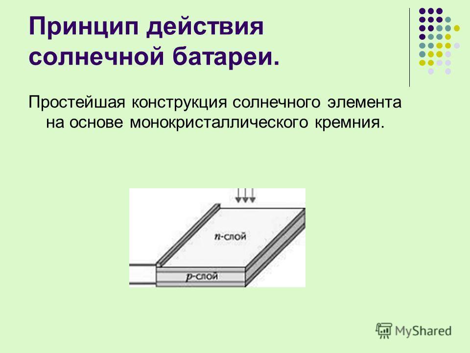 Принцип действия солнечной батареи. Простейшая конструкция солнечного элемента на основе монокристаллического кремния.