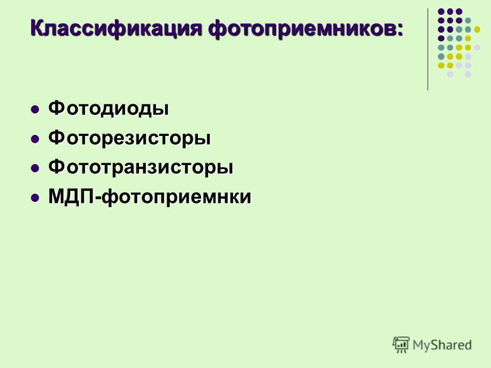 Классификация фотоприемников: Фотодиоды Фотодиоды Фоторезисторы Фоторезисторы Фототранзисторы Фототранзисторы МДП-фотоприемнки МДП-фотоприемнки