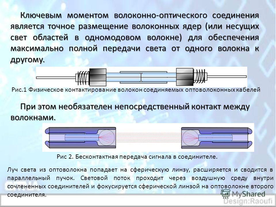 Ключевым моментом волоконно-оптического соединения является точное размещение волоконных ядер (или несущих свет областей в одномодовом волокне) для обеспечения максимально полной передачи света от одного волокна к другому. При этом необязателен непос