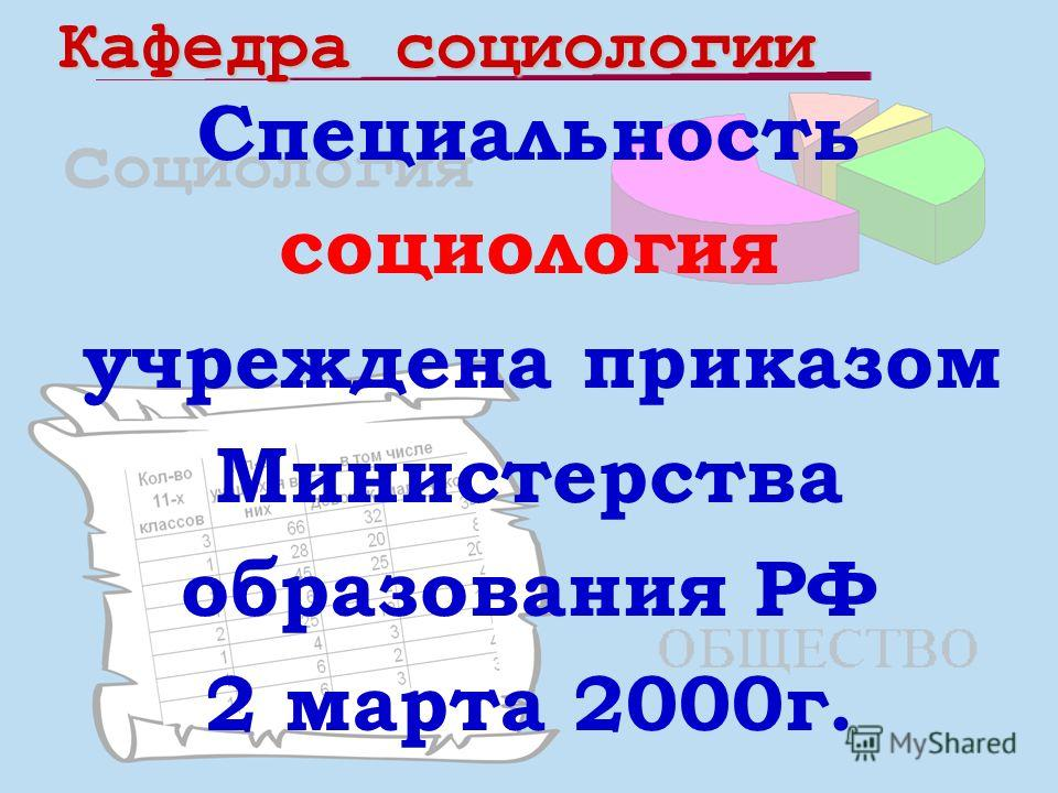 Специальность социология учреждена приказом Министерства образования РФ 2 марта 2000г.