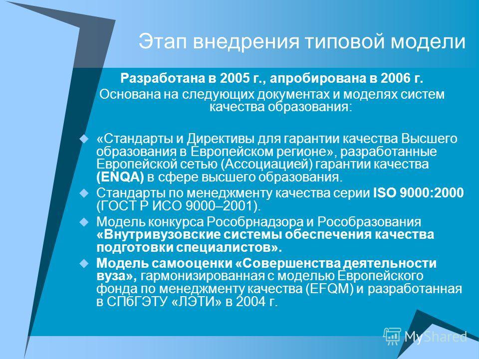Этап внедрения типовой модели Разработана в 2005 г., апробирована в 2006 г. Основана на следующих документах и моделях систем качества образования: «Стандарты и Директивы для гарантии качества Высшего образования в Европейском регионе», разработанные