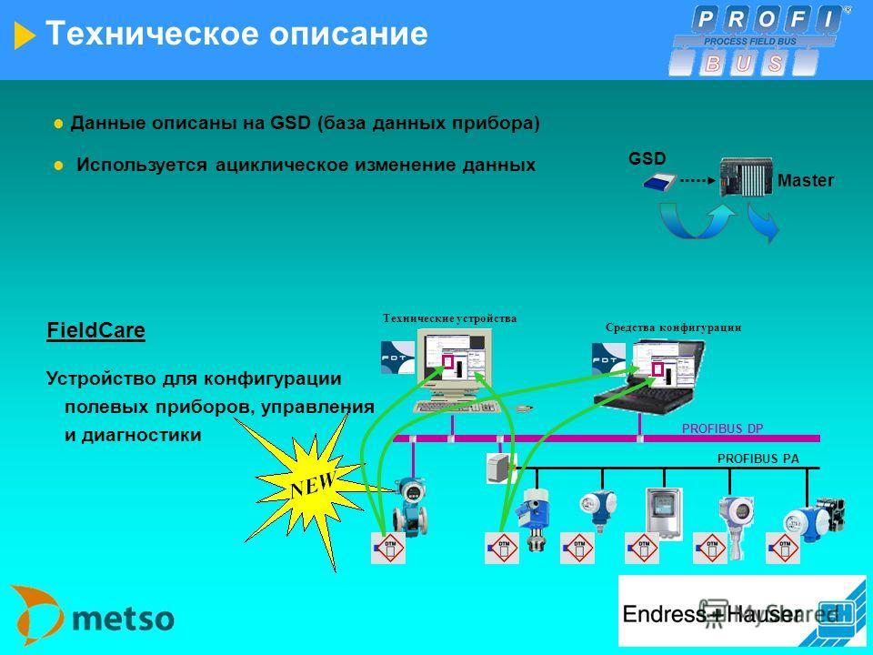 Техническое описание Связь PA со скоростью 31.25 kБ/с обеспечивается IEC 61158-2 Источник питания и связь на основе 2-х проводной технологии Параллельное использование DP и PA полевыми приборами Системная интеграция с couplers/links в PROFIBUS-DP (бо