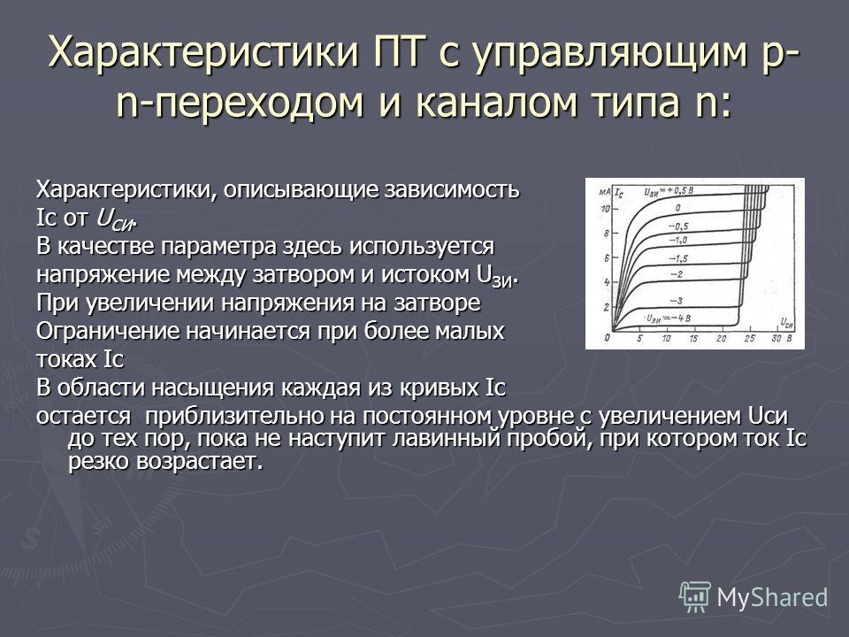 Характеристики ПТ с управляющим p- n-переходом и каналом типа n: Характеристики, описывающие зависимость Iс от U СИ. В качестве параметра здесь используется напряжение между затвором и истоком U ЗИ. При увеличении напряжения на затворе Ограничение на