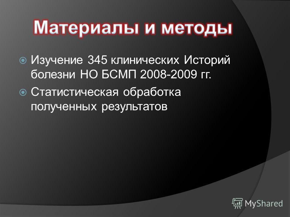 Изучение 345 клинических Историй болезни НО БСМП 2008-2009 гг. Статистическая обработка полученных результатов