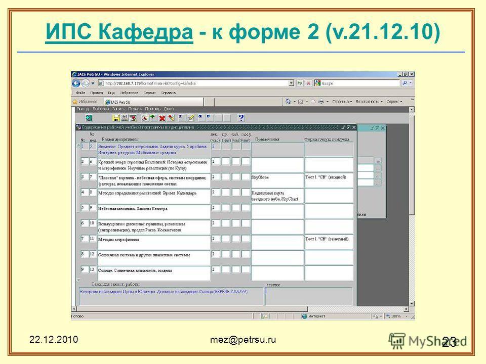 22.12.2010mez@petrsu.ru 23 ИПС КафедраИПС Кафедра - к форме 2 (v.21.12.10)