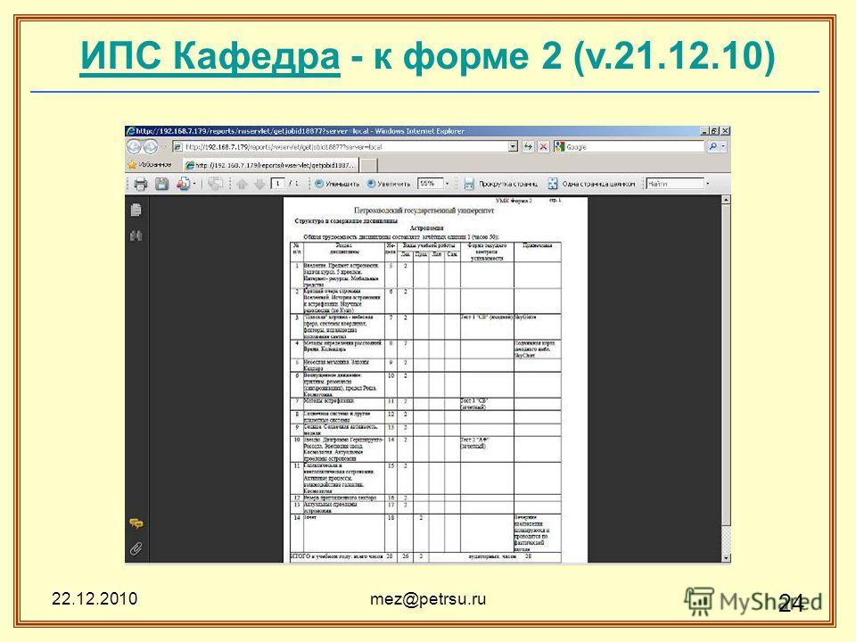 22.12.2010mez@petrsu.ru 24 ИПС КафедраИПС Кафедра - к форме 2 (v.21.12.10)