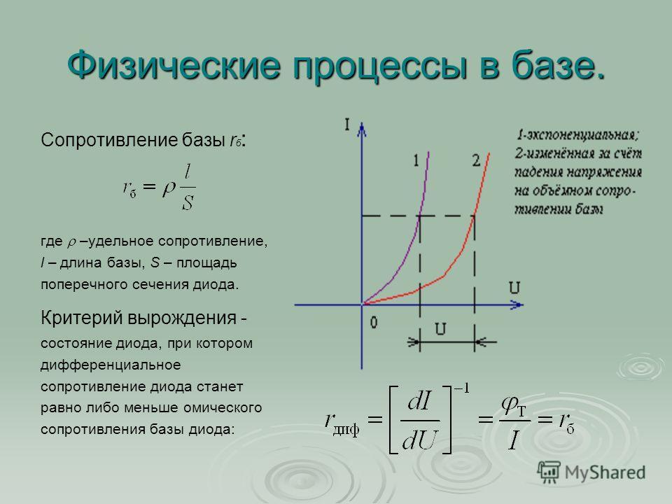Физические процессы в базе. Сопротивление базы r б : где –удельное сопротивление, l – длина базы, S – площадь поперечного сечения диода. Критерий вырождения - состояние диода, при котором дифференциальное сопротивление диода станет равно либо меньше