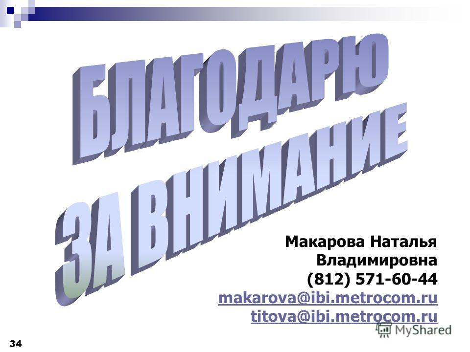 34 Макарова Наталья Владимировна (812) 571-60-44 makarova@ibi.metrocom.ru titova@ibi.metrocom.ru