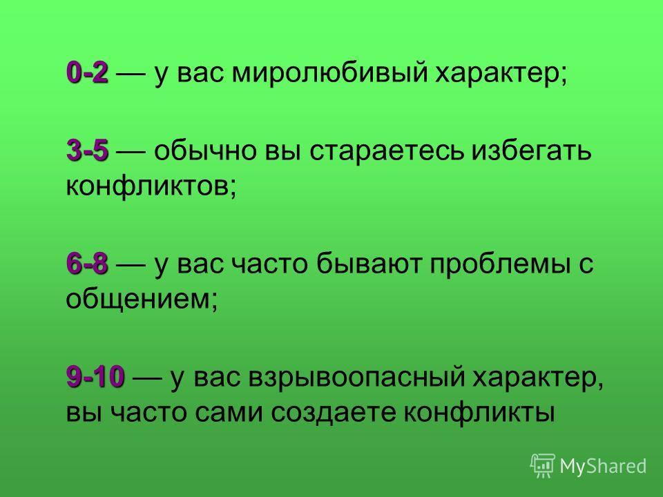 0-2 0-2 у вас миролюбивый характер; 3-5 3-5 обычно вы стараетесь избегать конфликтов; 6-8 6-8 у вас часто бывают проблемы с общением; 9-10 9-10 у вас взрывоопасный характер, вы часто сами создаете конфликты