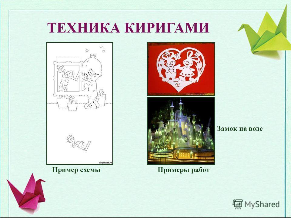 ТЕХНИКА КИРИГАМИ Пример схемыПримеры работ Замок на воде