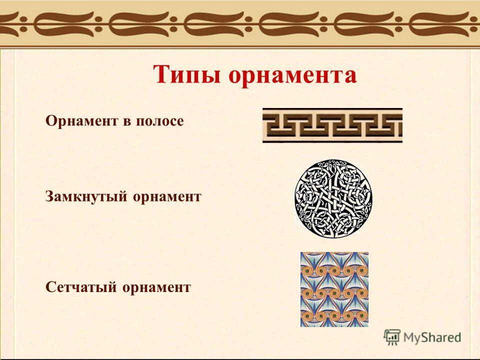 Типы орнамента Орнамент в полосе Замкнутый орнамент Сетчатый орнамент