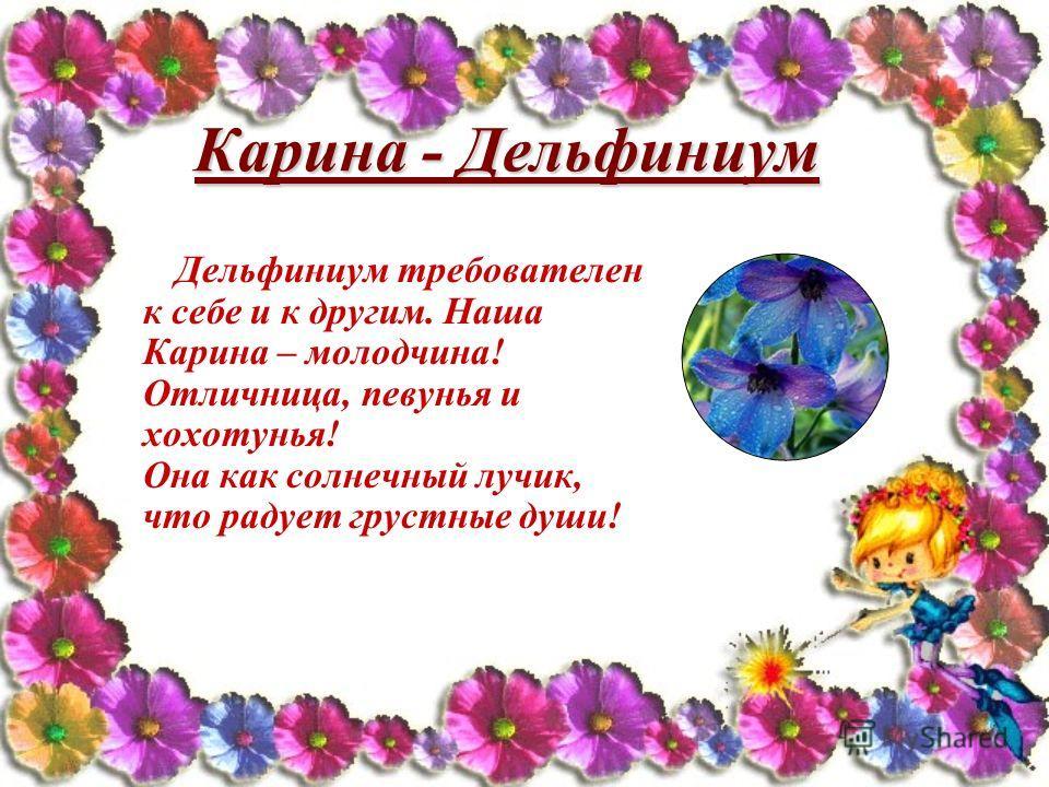 Карина - Дельфиниум Дельфиниум требователен к себе и к другим. Наша Карина – молодчина! Отличница, певунья и хохотунья! Она как солнечный лучик, что радует грустные души!