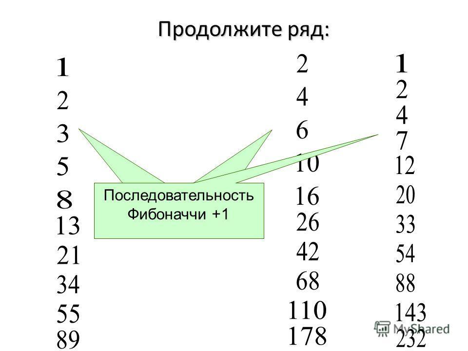 Продолжите ряд: Последовательность Фибоначчи Последовательность Фибоначчи *2 Последовательность Фибоначчи +1