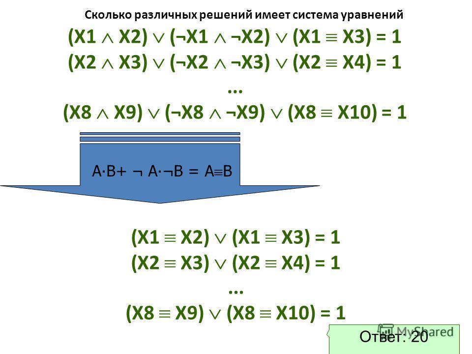 (X1 X2) (¬X1 ¬X2) (X1 X3) = 1 (X2 X3) (¬X2 ¬X3) (X2 X4) = 1... (X8 X9) (¬X8 ¬X9) (X8 X10) = 1 (X1 X2) (X1 X3) = 1 (X2 X3) (X2 X4) = 1... (X8 X9) (X8 X10) = 1 Ответ: 20 АВ+ ¬ А¬В = А В Сколько различных решений имеет система уравнений