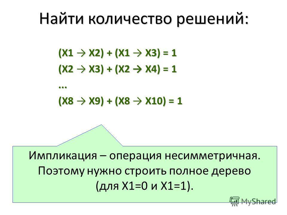 (X1 X2) + (X1 X3) = 1 (X2 X3) + (X2 X4) = 1... (X8 X9) + (X8 X10) = 1 Импликация – операция несимметричная. Поэтому нужно строить полное дерево (для Х1=0 и Х1=1). Найти количество решений: