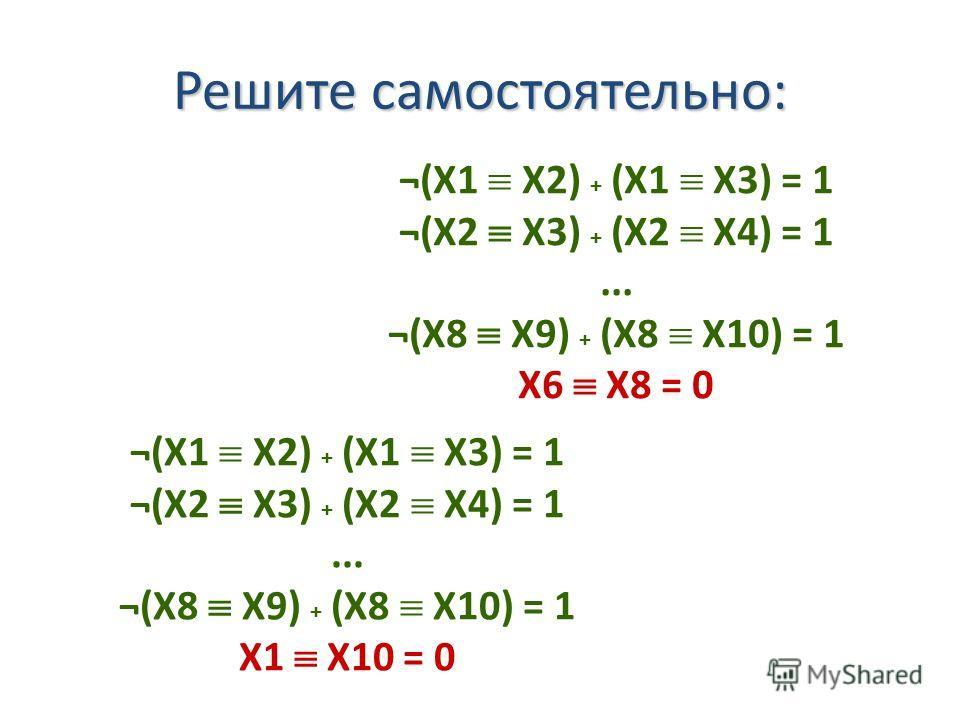 ¬(X1 X2) + (X1 X3) = 1 ¬(X2 X3) + (X2 X4) = 1... ¬(X8 X9) + (X8 X10) = 1 X6 X8 = 0 ¬(X1 X2) + (X1 X3) = 1 ¬(X2 X3) + (X2 X4) = 1... ¬(X8 X9) + (X8 X10) = 1 X1 X10 = 0 Решите самостоятельно: