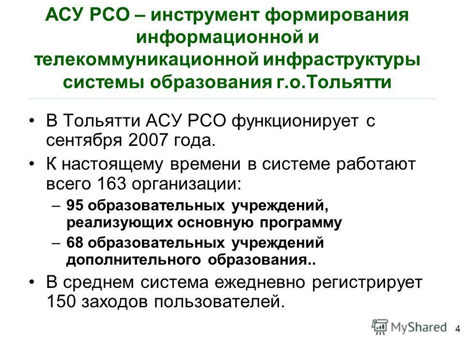 АСУ РСО – инструмент формирования информационной и телекоммуникационной инфраструктуры системы образования г.о.Тольятти В Тольятти АСУ РСО функционирует с сентября 2007 года. К настоящему времени в системе работают всего 163 организации: –95 образова