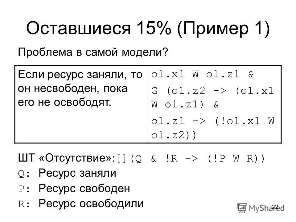 22 Оставшиеся 15% (Пример 1) Проблема в самой модели? ШТ «Отсутствие» : [](Q & !R -> (!P W R)) Q: Ресурс заняли P: Ресурс свободен R: Ресурс освободили Если ресурс заняли, то он несвободен, пока его не освободят. o1.x1 W o1.z1 & G (o1.z2 -> (o1.x1 W