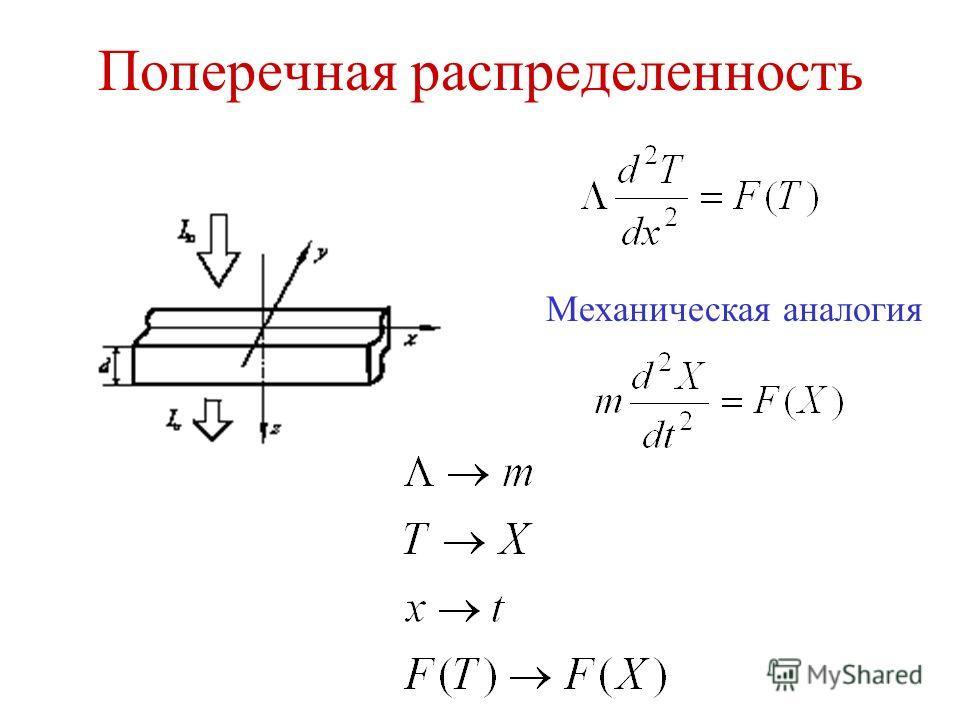 Поперечная распределенность Механическая аналогия