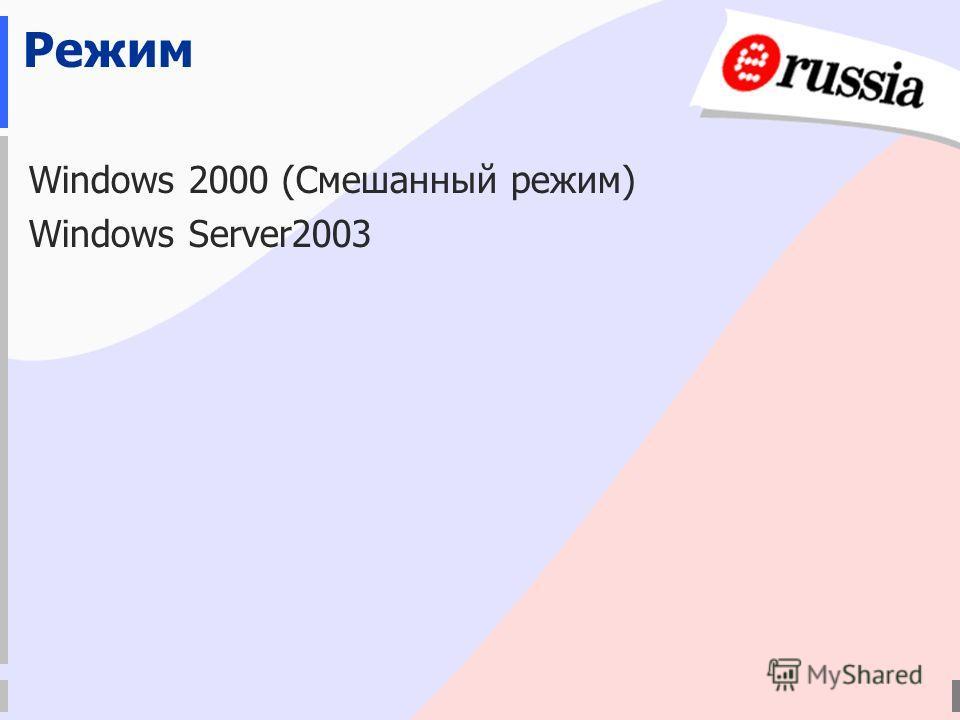 Режим Windows 2000 (Смешанный режим) Windows Server2003