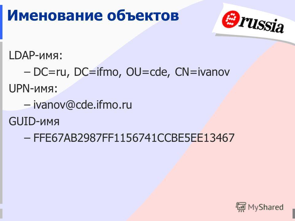 Именование объектов LDAP-имя: –DC=ru, DC=ifmo, OU=cde, CN=ivanov UPN-имя: –ivanov@cde.ifmo.ru GUID-имя –FFE67AB2987FF1156741CCBE5EE13467