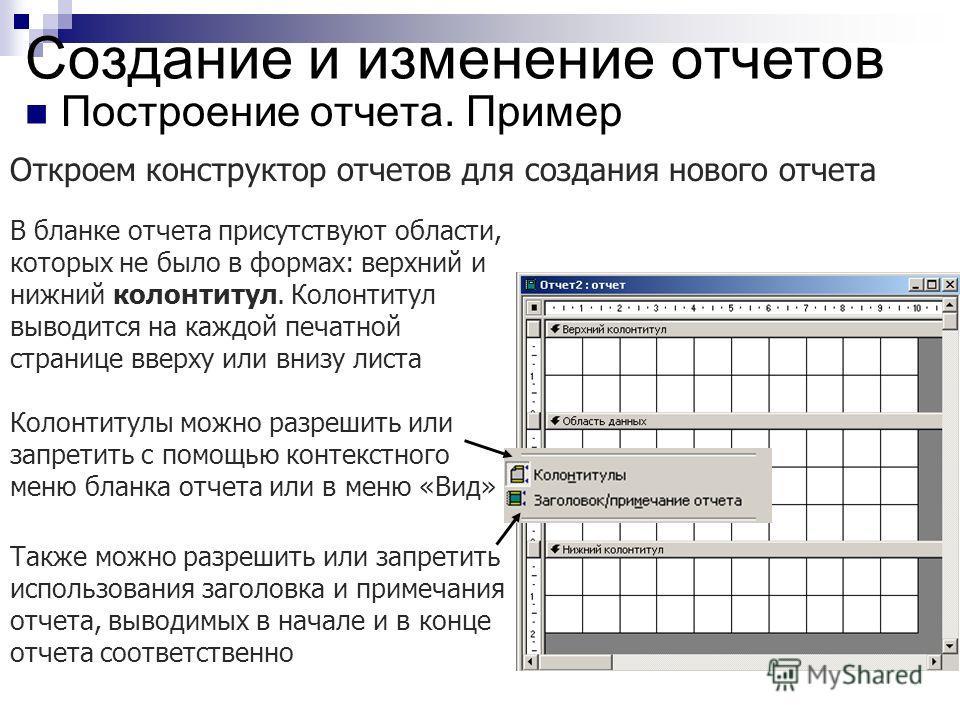Создание и изменение отчетов Построение отчета. Пример Откроем конструктор отчетов для создания нового отчета В бланке отчета присутствуют области, которых не было в формах: верхний и нижний колонтитул. Колонтитул выводится на каждой печатной страниц