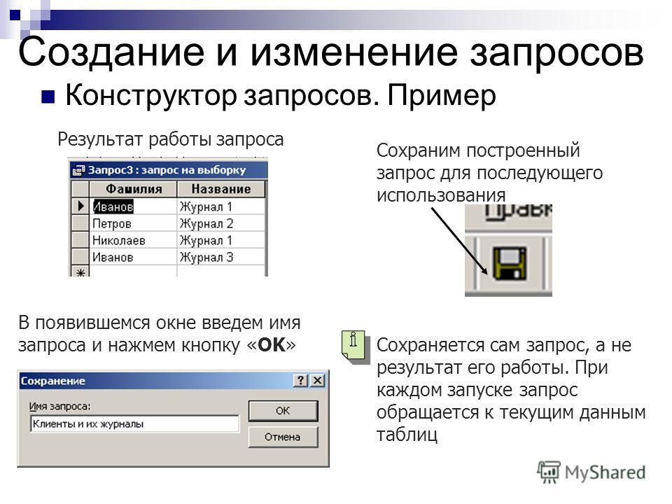 Создание и изменение запросов Конструктор запросов. Пример Результат работы запроса Сохраним построенный запрос для последующего использования В появившемся окне введем имя запроса и нажмем кнопку «OK» Сохраняется сам запрос, а не результат его работ