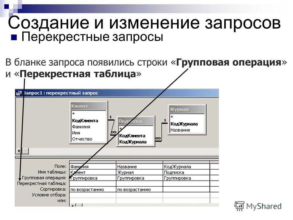 Создание и изменение запросов Перекрестные запросы В бланке запроса появились строки «Групповая операция» и «Перекрестная таблица»