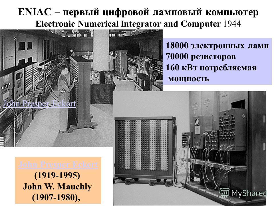 ENIAC – первый цифровой ламповый компьютер Electronic Numerical Integrator and Computer 1944 18000 электронных ламп 70000 резисторов 160 кВт потребляемая мощность John Presper Eckert (1919-1995) John W. Mauchly (1907-1980),