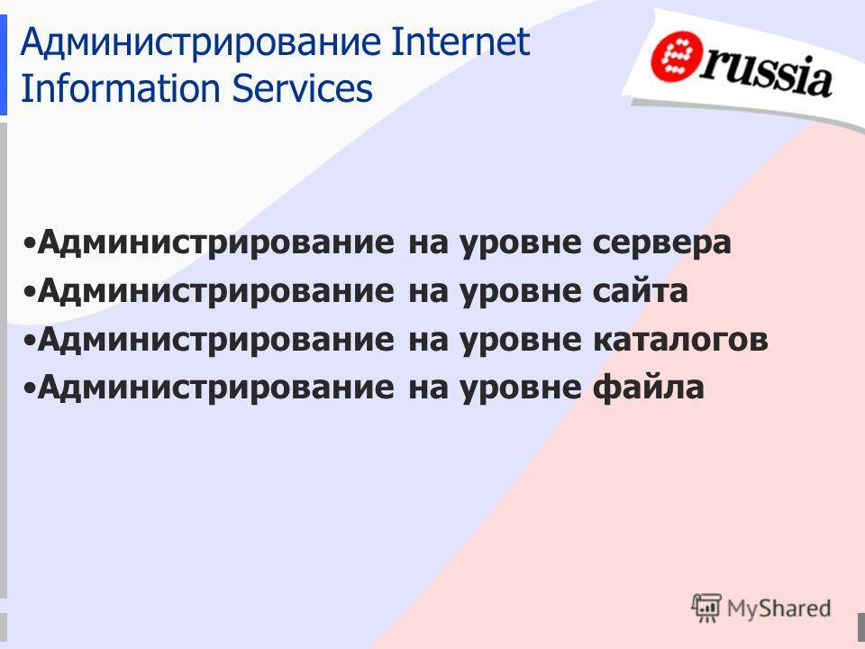 Администрирование Internet Information Services Администрирование на уровне сервера Администрирование на уровне сайта Администрирование на уровне каталогов Администрирование на уровне файла