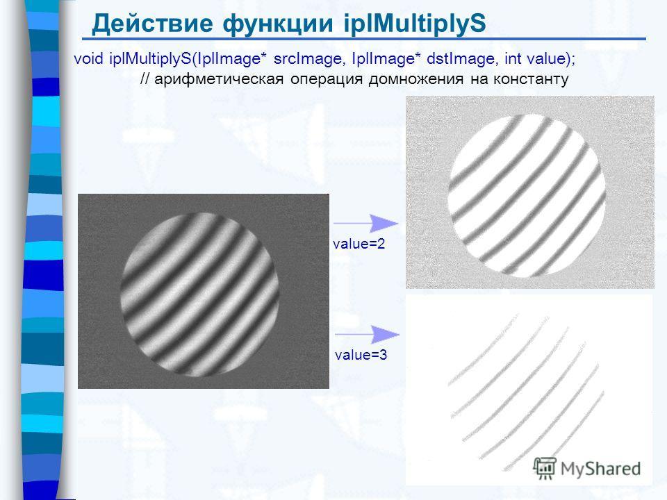 Действие функции iplMultiplyS void iplMultiplyS(IplImage* srcImage, IplImage* dstImage, int value); // арифметическая операция домножения на константу value=2 value=3
