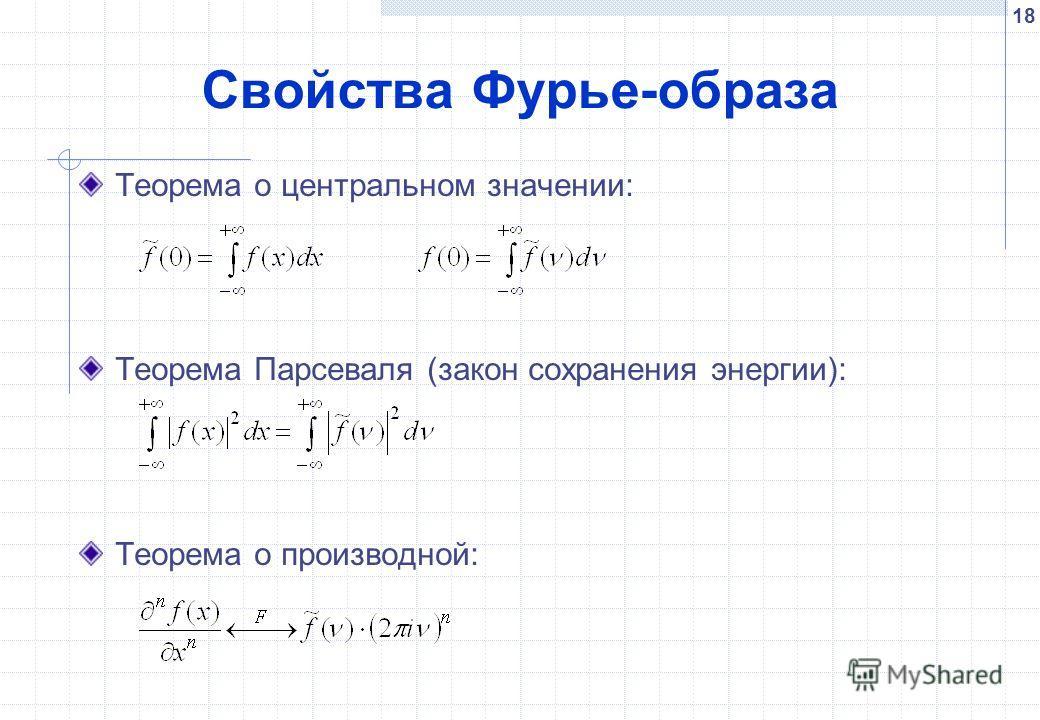 18 Свойства Фурье-образа Теорема о центральном значении: Теорема Парсеваля (закон сохранения энергии): Теорема о производной: