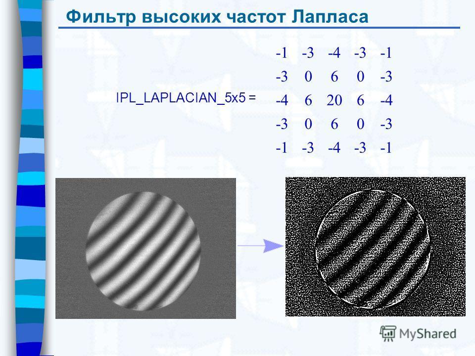 Фильтр высоких частот Лапласа IPL_LAPLACIAN_5x5 = -3-4-3 -3060 -46206-4 -3060 -3-4-3