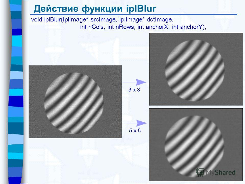 Действие функции iplBlur void iplBlur(IplImage* srcImage, IplImage* dstImage, int nCols, int nRows, int anchorX, int anchorY); 3 x 3 5 x 5