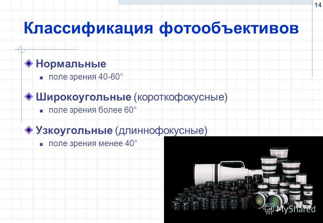 14 Классификация фотообъективов Нормальные поле зрения 40-60° Широкоугольные (короткофокусные) поле зрения более 60° Узкоугольные (длиннофокусные) поле зрения менее 40°