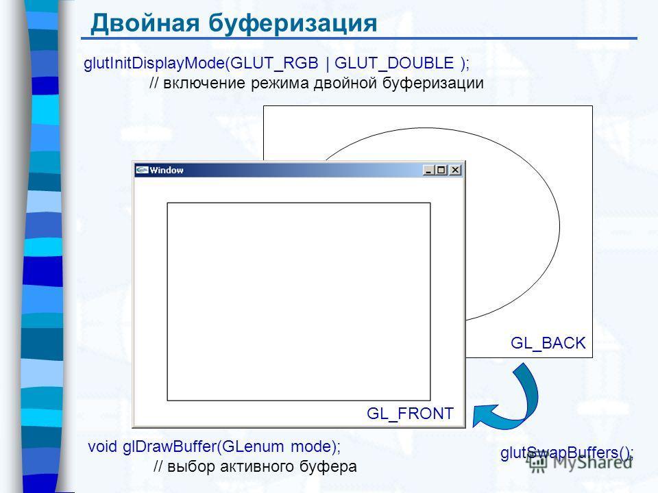 GL_BACK Двойная буферизация glutInitDisplayMode(GLUT_RGB | GLUT_DOUBLE ); // включение режима двойной буферизации glutSwapBuffers(); GL_FRONT void glDrawBuffer(GLenum mode); // выбор активного буфера