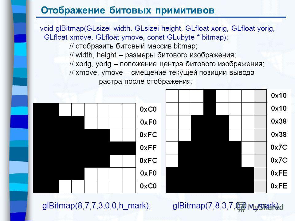 Отображение битовых примитивов void glBitmap(GLsizei width, GLsizei height, GLfloat xorig, GLfloat yorig, GLfloat xmove, GLfloat ymove, const GLubyte * bitmap); // отобразить битовый массив bitmap; // width, height – размеры битового изображения; //