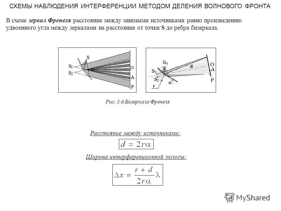 СХЕМЫ НАБЛЮДЕНИЯ ИНТЕРФЕРЕНЦИИ МЕТОДОМ ДЕЛЕНИЯ ВОЛНОВОГО ФРОНТА В схеме зеркал Френеля расстояние между мнимыми источниками равно произведению удвоенного угла между зеркалами на расстояние от точки S до ребра бизеркала. Расстояние между источниками: