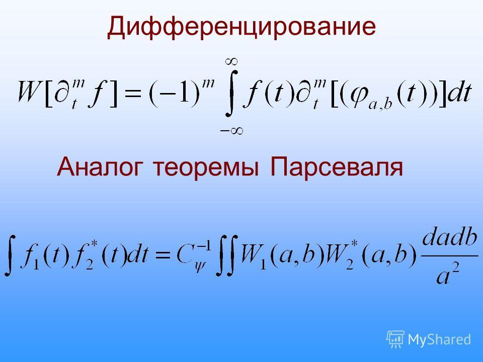 Дифференцирование Аналог теоремы Парсеваля