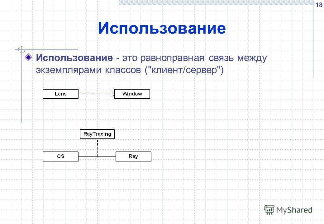 18 Использование Использование - это равноправная связь между экземплярами классов (клиент/сервер)