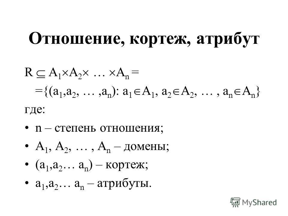 Отношение, кортеж, атрибут R A 1 A 2 … A n = ={(a 1,a 2, …,a n ): a 1 A 1, a 2 A 2, …, a n A n } где: n – степень отношения; A 1, A 2, …, A n – домены; (a 1,a 2 … a n ) – кортеж; a 1,a 2 … a n – атрибуты.