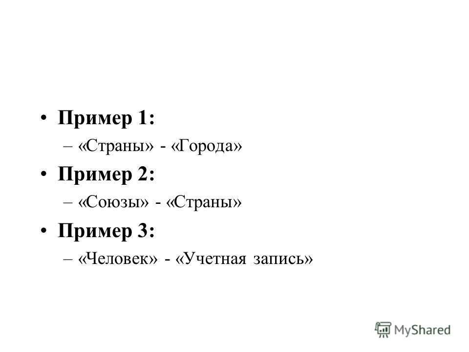 Пример 1: –«Страны» - «Города» Пример 2: –«Союзы» - «Страны» Пример 3: –«Человек» - «Учетная запись»