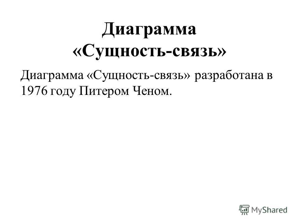 Диаграмма «Сущность-связь» Диаграмма «Сущность-связь» разработана в 1976 году Питером Ченом.