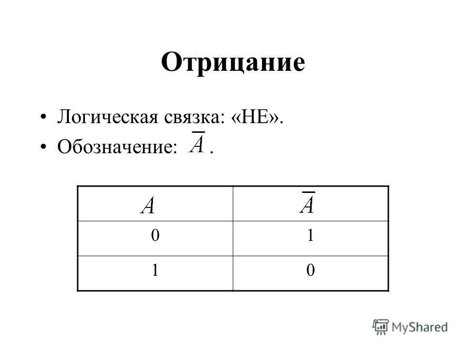 Отрицание Логическая связка: «НЕ». Обозначение:. 01 10