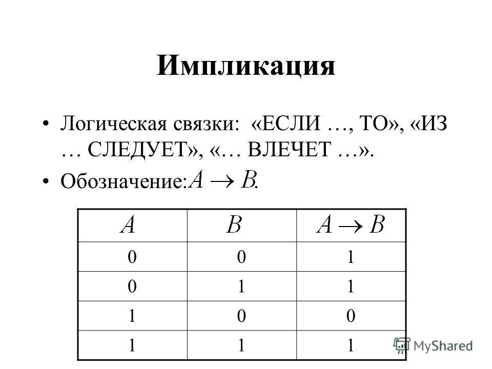 Импликация Логическая связки: «ЕСЛИ …, ТО», «ИЗ … СЛЕДУЕТ», «… ВЛЕЧЕТ …». Обозначение:. 001 011 100 111