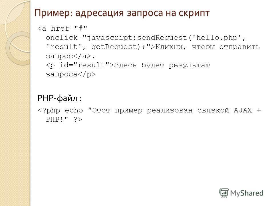 Пример : адресация запроса на скрипт Кликни, чтобы отправить запрос. Здесь будет результат запроса PHP- файл :