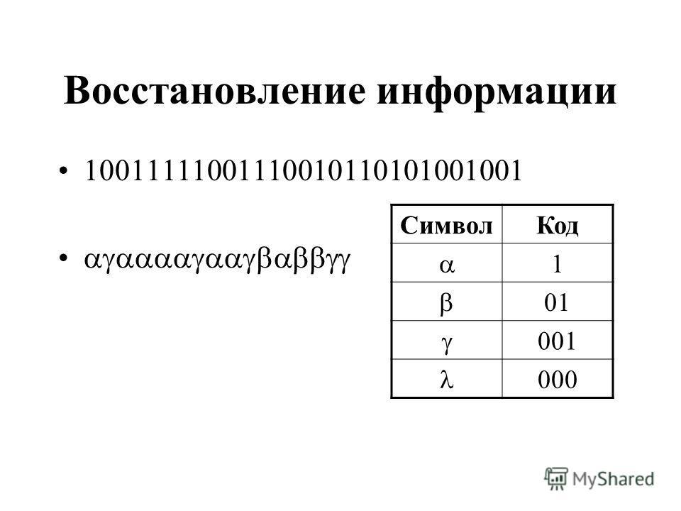 Восстановление информации 10011111001110010110101001001 СимволКод 1 01 001 000
