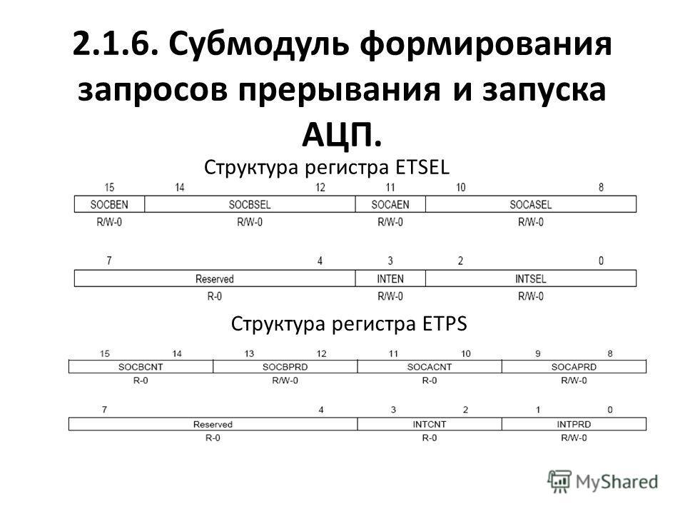 2.1.6. Субмодуль формирования запросов прерывания и запуска АЦП. Структура регистра ETSEL Структура регистра ETPS